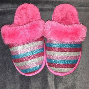 Justice pink multi-color sparkling slippers